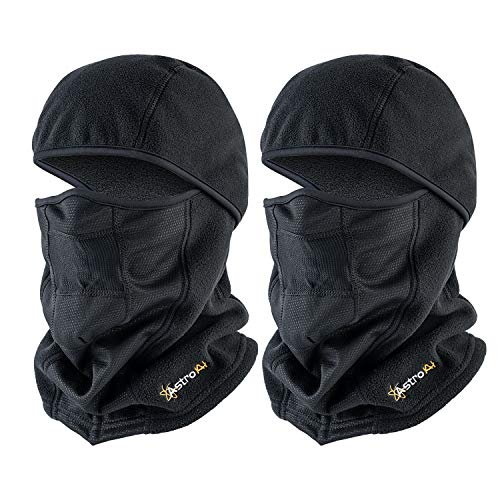 AstroAI Face Mask 2 Pack Windproof Ski Mask Balaclava for Men Women, Black