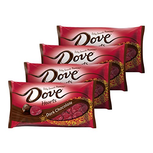 DOVE PROMISES Valentine Dark Chocolate Candy Hearts 8.87-Ounce Bag (Pack of 4)
