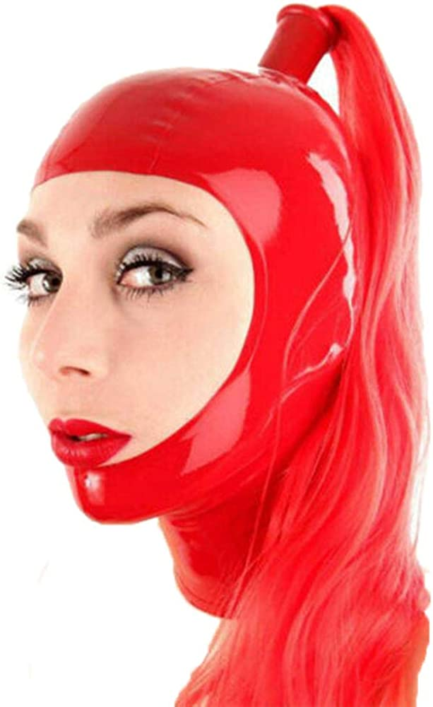 Latex Hood with Ponytail Wig Back Zipper Open Face Rubber Mask Cos Club Wear