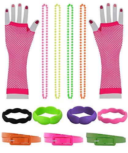 Foxxeo 13 teiliges 80er Jahre Neon Damen Kostüm Set für Fasching & Karneval - Ketten, Netzhandschuhe, Armreifen, Gürtel