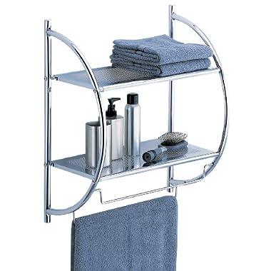 Organize It All 1753W-B Wall Mount 2 Tier Chrome Bathroom Shelf with Towel Bars Metallic