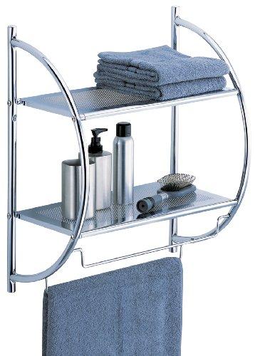 Organize It All 1753W-B - Estantería de Pared para baño, 2 Niveles, Cromo, con Barras de Toalla, metálico