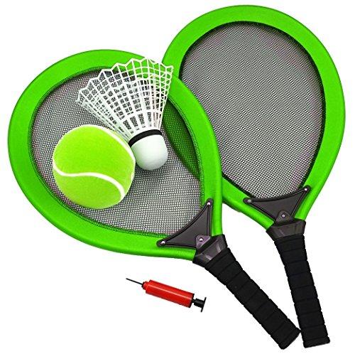 Best Sporting Jumbo-Tennis-Set, 2 Schläger, 1 Federball, 1 Tennisball, Ballpumpe, blau oder grün