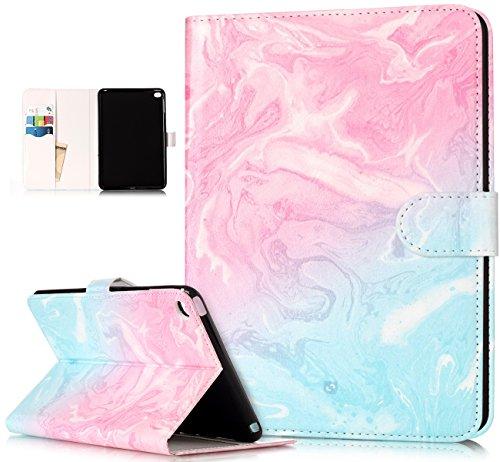 Coque iPad Mini 4,Etui iPad Mini 4,ikasus Marbre Fleur coloré peint Etui Housse Cuir PU Portefeuille Protection supporter Folio Flip Case Etui Housse Coque pour 7.9 iPad Mini 4 Etui,Marbre bleu rose