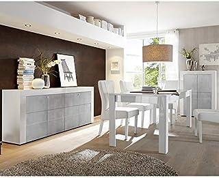 Brooklyn - Salón de comedor completo color blanco lacado brillante y hormigón sin extensión 180 cm