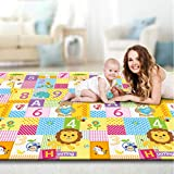 Baby Play Mat Double Sides, Mosunx Extra Large Reversible Playmat, BPA Free Waterproof Non-Slip Crawling Mat for Toddler 3 Month Years Old and Up (Animals and Numbers Printed, 6.56x5.90x0.033ft)