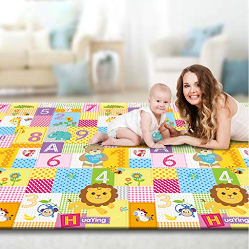 XGao Baby Rug for Crawling - Kids Area Rugs Educational Play Mat for Room Decor, Count Game, Learn Animals, Expressions, Family Beach Carpet Outdoor Indoor Gift (Multicolour)