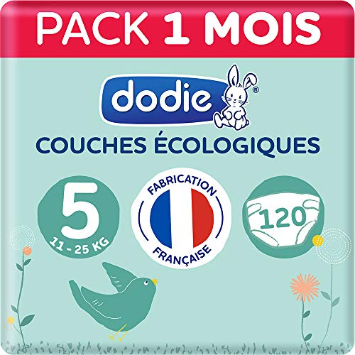 Dodie - Couches Ecologiques & Françaises - Taille 5 (11 à 25 kg) - Pack 1 mois 120 couches (Lot de 3x40)