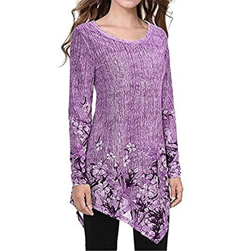 PRJN Mujer Primavera Otoño e Invierno Tops Estampados Camisetas Retro Tops de Manga Larga Camisa Casual Blusa de Cuello Redondo Suéter túnica Moda y pulóver Irregular Suelto con Estampado de Flores