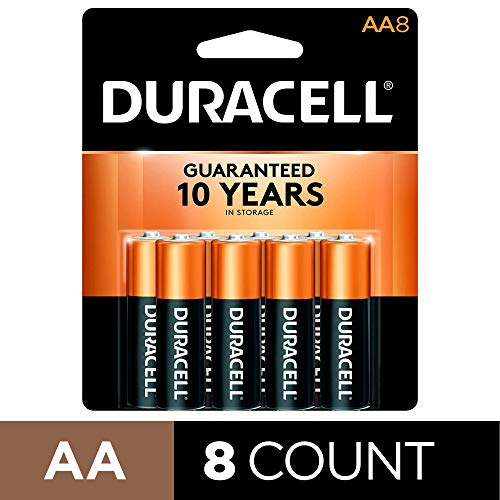 Price comparison product image Duracell - CopperTop AA Alkaline Batteries - long lasting,  all-purpose Double A battery for household and business - 8 Count