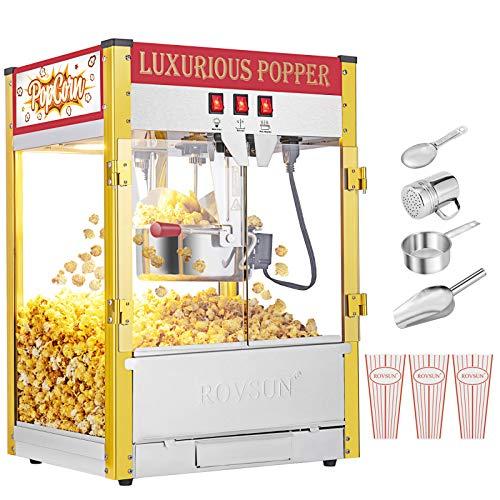 """ROVSUN Popcorn Machine w/ 8 Ounce Kettle, 850W Countertop Popcorn Maker w/Double Doors, Popcorn Scoop, Oil Spoon & 3 Popcorn Cups, 17.8""""L x 14.8""""W x 26.9""""H, Red"""