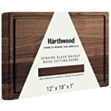 "Härthwood Walnut Wood Cutting Board with Juice Groove(12""x18""x1"") | Genuine North American Black Walnut Prep & Serve Block Chopping & Carving | Seasoning Oil Included Gift Packaging"