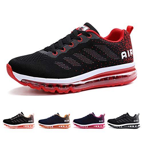 Air Zapatillas de Running para Hombre Mujer Deporte Zapatillas de Trail Deportivas Ligero Fitness Gym Zapatos para Casual Gimnasio Correr Sneakers Athletic Transpirables(Talla 41EU, Negro Rojo)