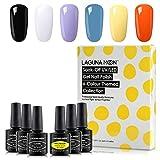 Lagunamoon Smalto Semipermanente in Gel UV LED, Selezione di 6 Colori per Halloween, Smalto per Unghie Soak off 8ML - Trick or Treat