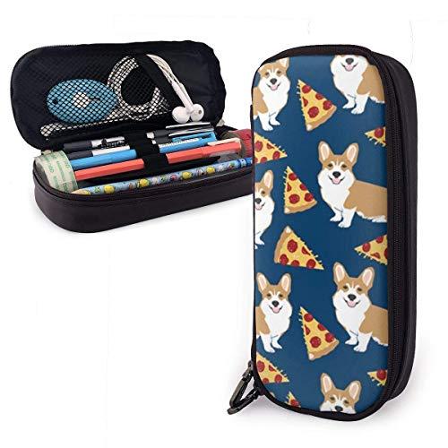 Corgi - Estuche para lápices de pizza, color azul marino, gran capacidad para rotuladores, bolsa de maquillaje, bolsa de cuero, organizador de papelería con cremallera para la escuela y la oficina