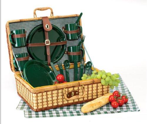 Picknickkorb Picknick Picknickkoffer Koffer Korb für 4 Personen gefüllt -002