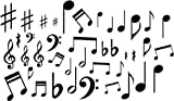 MUSIC NOTES VINYL WALL DECAL STICKERS LOT OF 40 NOTES HOME DECOR MADE BY G & B VINYL DECALS DO NOT COPY