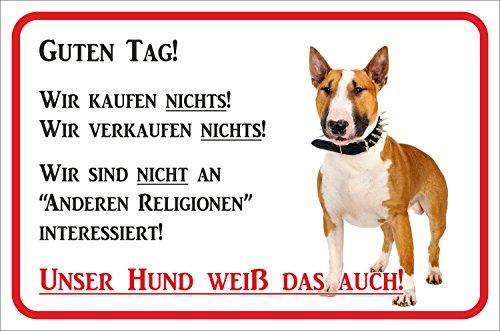 Rainbow-Print Schild - Vorsicht Bullterrier Wir kaufen Nichts (BRAUN/WEIß) (20x30cm)