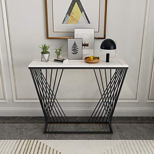 LIANG Armario de entrada moderno de pizarra – Mesa auxiliar con base de metal, mesa económica y larga estrecha para muebles de sala de estar (color 02)
