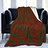 Christmas Red and Green Tartan Plaid Decorative Flannel Fleece Throw Blanket - Funny Crazy Lightweight Microfiber Decor Blanket, Soft, Cozy, Warm, Perfect for Bed Sofa, 50'x60'