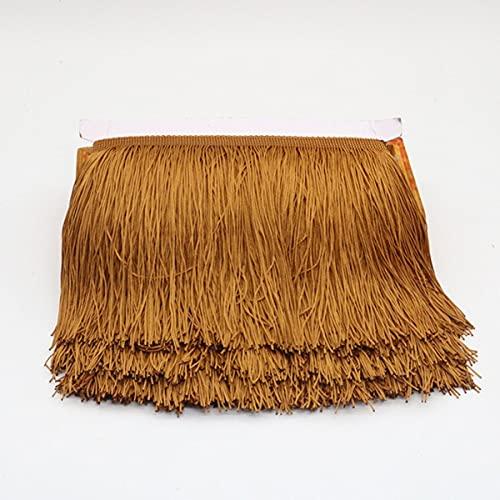 15 cm de Ancho Borla Flecos Ribete de Encaje poliéster Flecos de Fibra para Coser Cortinas Vestido borlas Adornos Trenzas Accesorios manualidades-15 cm, marrón Claro