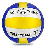Ballon de Beach Volleyball Doux au Toucher pour extérieur et intérieur Taille 5 Size 5 Bleu/Jaune/Blanc