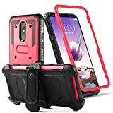 Toyouu for LG Stylo 5/5+/5V/5X/LG Stylo 5 Plus Phone Case Built-in[Full Coverage Screen Protector] with Belt Clip[Kickstand] Full Body Heavy Duty Sturdy Swivel Belt Clip Holster Case,Red