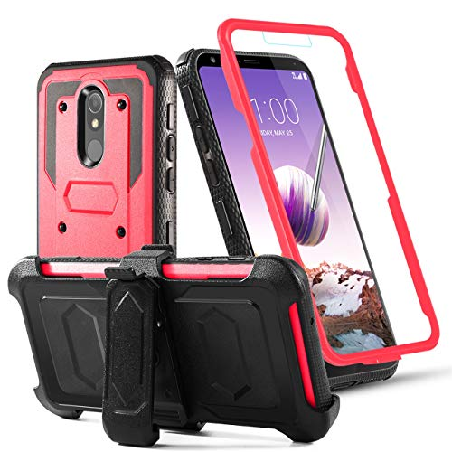 Toyouu for LG Stylo 5/LG Stylo 5 +/LG Stylo 5 Plus Phone Case Built-in[Full Coverage Screen Protector] with Belt Clip[Kickstand] Full Body Heavy Duty Sturdy Swivel Belt Clip Holster Case (red)