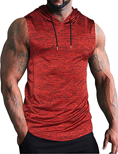 Babioboa Mens Gym Hoodie Workout Hooded Tank Tops Quick Dry Performance Muscle Athletic Running Sleeveless T-Shirts Red