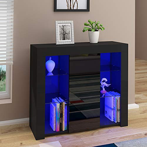 Panana High Gloss Sideboard Cupboard with LED Lights and 4 Glass Shelves Display Cabinet Storage Unit for Living Room Bedroom (Black)