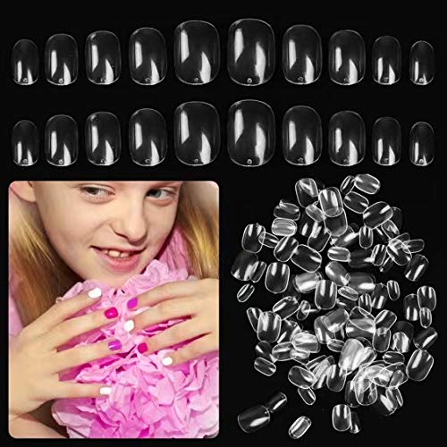 Larchio 600PCS Short Clear Press on Nails for Little Girls, Acrylic Fake Nail Tips for kids, Children Full Cover False Nail Tips for Artificial Fingernail