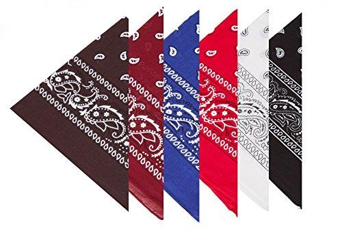 Boolavard 100% Baumwolle, 6 Bandanas mit Original Paisley-Muster Wahl der Schal-Verpackung Headwear/Wrap Haar-Kopf-Hals-Band-Kopf, 6er Gemischt