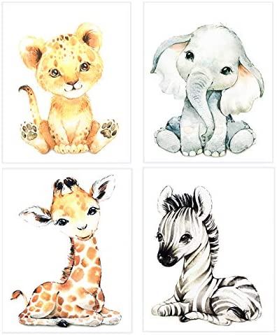 Wall Art for Nursery Decor Watercolor Safari Animal Wall Art Print Baby Animal Pictures for product image