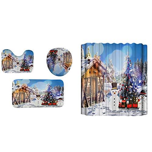 Shan-S 4pcs Christmas Theme Bathroom Carpet Doormats Set with Toilet Seat Cover, Non-Slip Bath Mat/Rugs,Shower Curtain Xmas Santa Claus Snowman Reindeer Christmas Tree Bathroom Decor