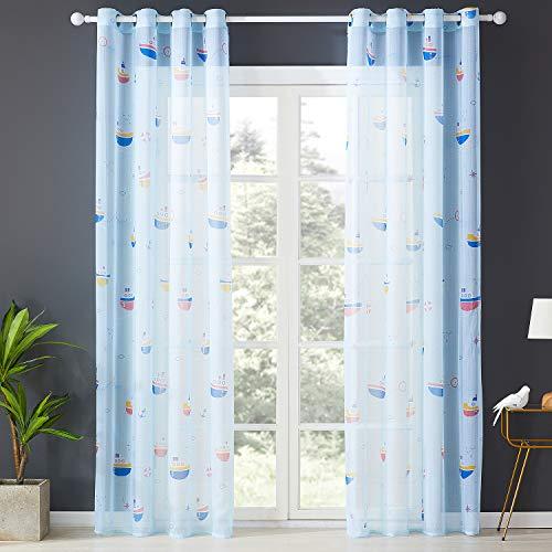 Topfinel Transparente Vorhänge mit Ösen Boot/Schiff Mustern Kurze Gardine für Kinderzimmer Fenster Wohnzimmer 2er Set 160x140cm (HxB) Baum