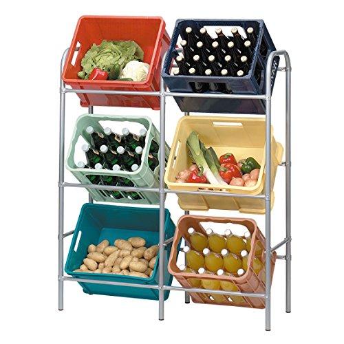 axentia Getränkekistenregal für 6 Kästen, Regal aus Metall, Boxen-Regal zur platzsparenden Kastenhalterung, Kistenregal flexibel erweiterbar, grau