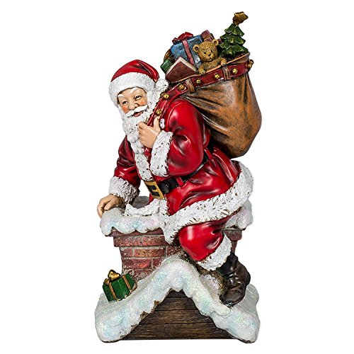 Santa Climbing Down thru Chimney Christmas Tree Topper