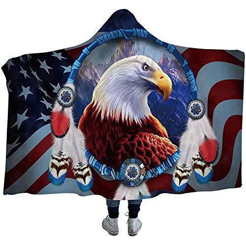Wzz Coperta con Cappuccio 3D Stampa Sherpa Fleece Wearable Blanket Adulti Dream Catcher Coperta del tiro, 3D Stampa Molle Eccellente Blanket per Gli Adulti, i Bambini,130cmx150cm