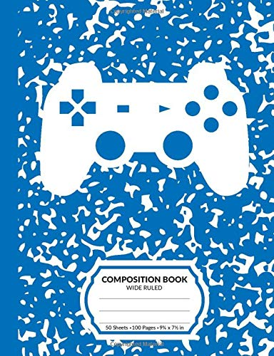 Composition Book: Gamer Blue Marble Pattern School Notebook | 100 Wide Ruled Blank Lined Writing Exercise Journal For Boys and Girls | Video Game Controller Back To School Gift For Students