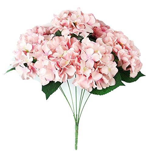 Hunpta Künstliche Hortensie Seide Fake 7 Köpfe Haufen Bouquet Home Hotel Hochzeit Party Blumengarten florales Dekor (Rosa)