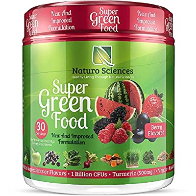 100% Natural Greens Powder, Over 10 Hard to Get Superfoods, Greens Supplement Powder 1 Month's Supply, Green Organic Blend with 1 Billion CFU Probiotics and 500mg Turmeric, Berry Flavor by Naturo Sciences