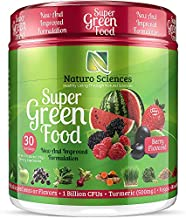 100% Natural Greens Powder, Over 10 Hard to Get Superfoods, Greens Supplement Powder 1 Month's Supply, Green Organic Blend with 1 Billion CFU Probiotics and 500mg Turmeric, Berry Flavor