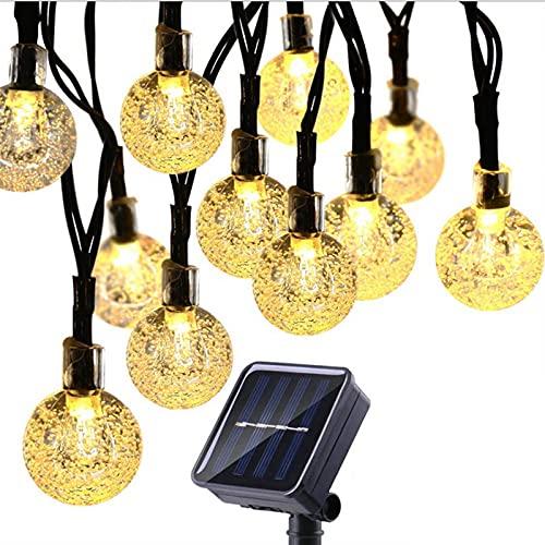 XVZ Cadena de luces solares para exteriores, 20 ledes, 8 modos, bolas...