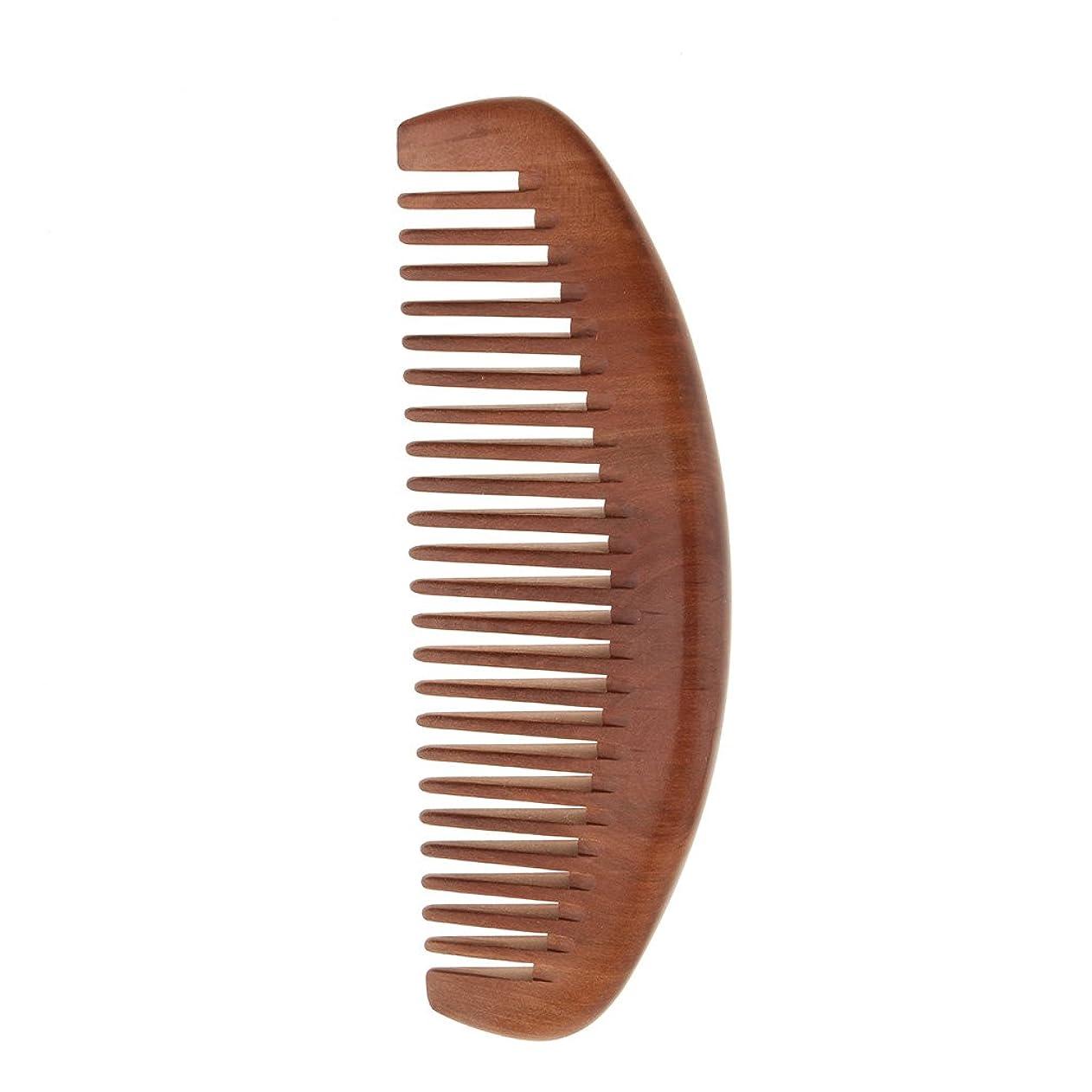 ペルメル誇張教養がある櫛 セットコーム 木製 ヘアコーム ヘアケア 頭皮マッサージ 静電気防止 桃の木 全2種類 - ワイド歯