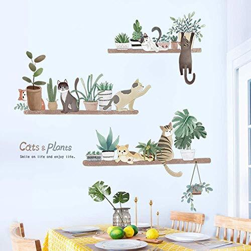 Sayopin Väggtatuering för sovrum, krukväxter och katter väggklistermärken som väggdekoration för vardagsrum barnrum väggklistermärken 93 x 90 cm | dekor väggtatuering för vägg skåp kök badrum fönster hall