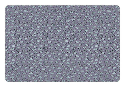 Ambesonne Ladybug Pet Mat for Food and Water, Floral Ornamental Bugs Best of Luck Insects of Nature with Leaf Patterns, Rectangle Non-Slip Rubber Mat for Dogs and Cats, Purple Grey Pale Blue