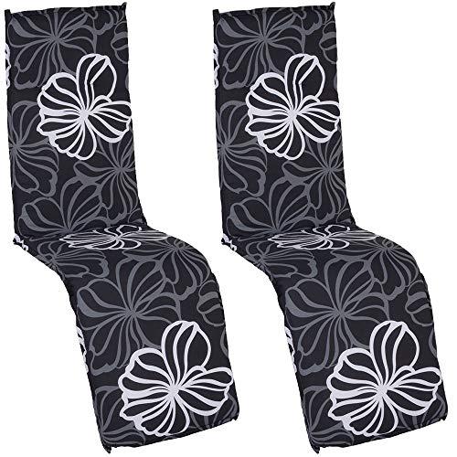 nxtbuy Auflage für Relaxliegen Barcelona 2er Set 171x50x6cm - Liegenauflage mit Komfortschaumkern und Bezug - Sitzpolster für Gartenliegen, Dessin:Black Flower