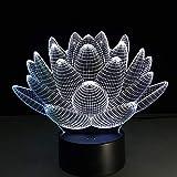 Lotus Floral 3d Luz de noche colorida 7 Lámpara de mesa que cambia de color Toque Estereoscópico Lámpara de ilusión visual Decoración Luz