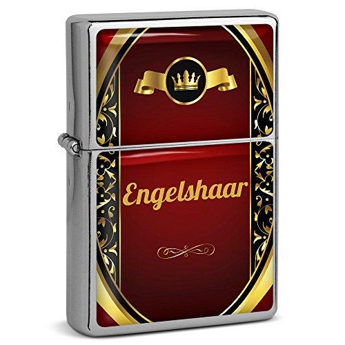 PhotoFancy® - Sturmfeuerzeug Set mit Namen Engelshaar - Feuerzeug mit Design Wappen 1 - Benzinfeuerzeug, Sturm-Feuerzeug