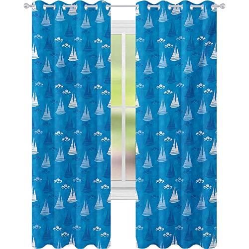 Cortinas para oscurecer la habitación, ilustración de siluetas de velero en restricción flotando sobre el agua con ondas de coma, W52 x L95 cortinas de ventana para dormitorio, azul blanco